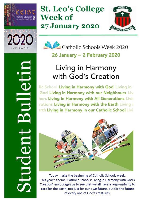 Student Newsletter W/C 27 January 2020